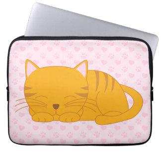 Sleeping Orange Tabby Cat Laptop Sleeves