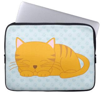 Sleeping Orange Tabby Cat Laptop Computer Sleeve
