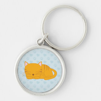 Sleeping Orange Tabby Cat Silver-Colored Round Keychain