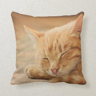 Sleeping Orange Tabby Cat Throw Pillows