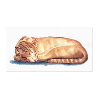 Sleeping Orange Tabby Cat Watercolor Painting Canvas Print