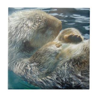 Sleeping Otter Ceramic Tile