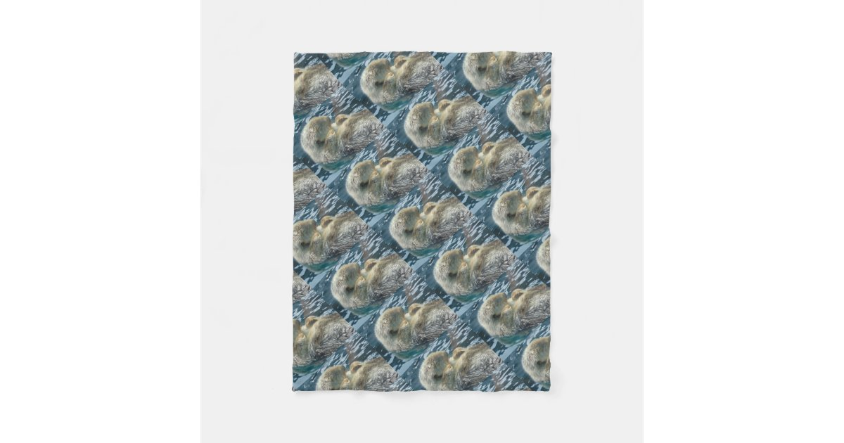 Sleeping Otter Fleece Blanket Zazzle Com