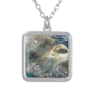 Sleeping Otter Silver Plated Necklace