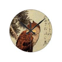 Sleeping Owl Round Clock