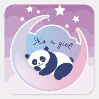 Sleeping Panda 'its a girl' square sticker