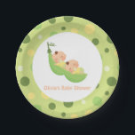 "Sleeping Peas in a Pod Twin Baby Shower Plates<br><div class=""desc"">These baby shower paper plates come with the illustration of two cute babies sleeping blissfully in a pea pod. A colour palette of green and yellow which is gender neutral. Circles pattern for background. Will go great with your twin baby shower party.</div>"