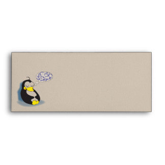 sleeping penguin dreaming about fish envelope