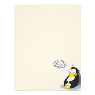 sleeping penguin dreaming about fish letterhead