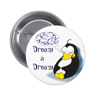 sleeping penguin dreaming about fish pin