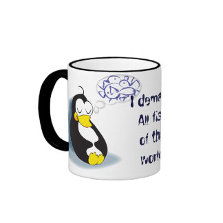 sleeping penguin dreaming about fish tea cup