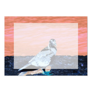 sleeping pied pigeon coral wall blue river invert 5x7 paper invitation card