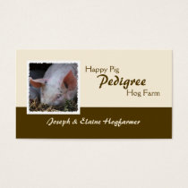 Sleeping pig photo cream and brown business card