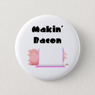 Sleeping Pigs Pink Blue Blanket Makin' Bacon Pinback Button