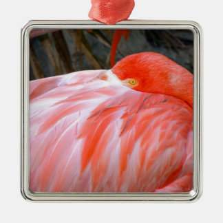 Sleeping Pink Flamingo Metal Ornament