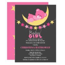 Sleeping Pink Girl Teddy Bear on Moon Baby Shower Card