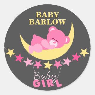 Sleeping Pink Girl Teddy Bear On Moon Baby Shower Classic Round Sticker