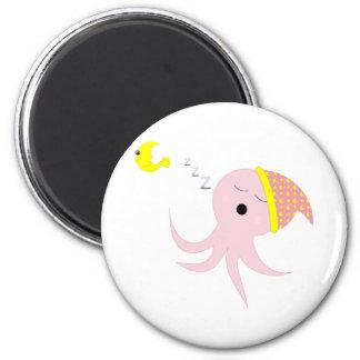 Sleeping Pink Octopus Refrigerator Magnet