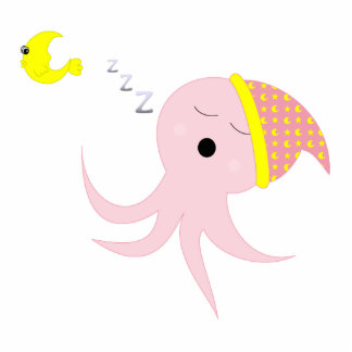 Sleeping Pink Octopus Photo Cut Out