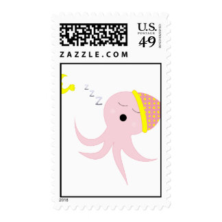 Sleeping Pink Octopus Postage