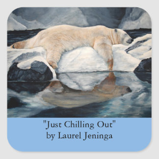Sleeping Polar Bear on Ice Stickers