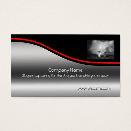 Sleeping Pomeranian, red swoosh, metallic-effect Business Card