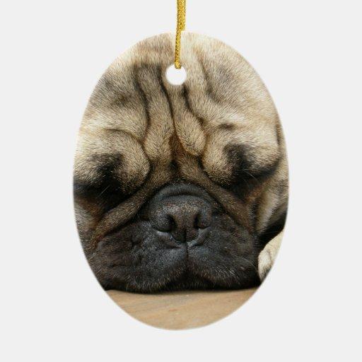 Sleeping Pug Dog Ornament