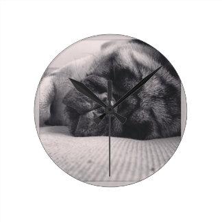 Sleeping Pug Round Wallclock