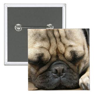 Sleeping Pug Square Pin