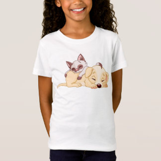 Sleeping Pup/Girls' Bella Fitted Babydoll T-Shirt