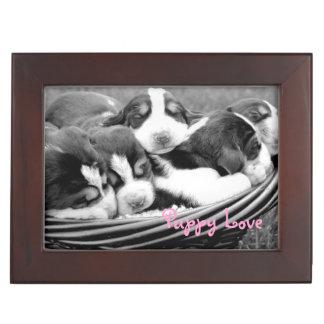 Sleeping Puppies Basket Keepsake Box