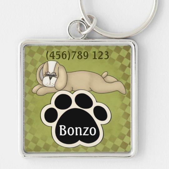 Sleeping Puppy and Pawprint Dog ID Tag Keychain