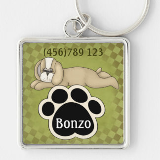 Sleeping Puppy and Pawprint Dog ID Tag Silver-Colored Square Keychain
