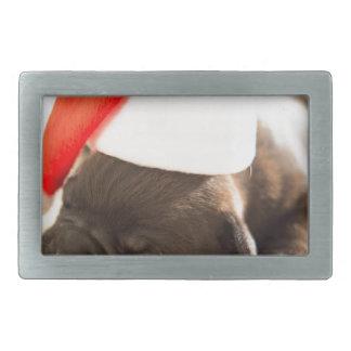 Sleeping Puppy Dog in Santa Christmas Hat Rectangular Belt Buckle