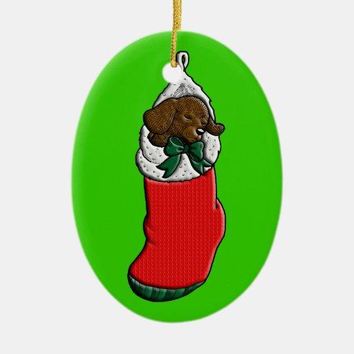 Sleeping Puppy in Christmas Stocking Ceramic Ornament