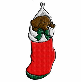 Sleeping Puppy in Christmas Stocking Photo Sculpture