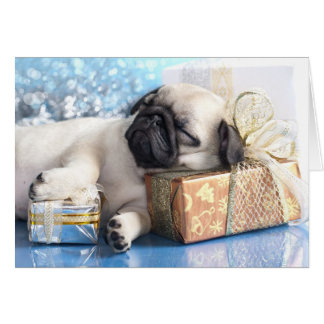Sleeping  puppy pug and Christmas gifts Greeting Card