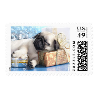 Sleeping  puppy pug and Christmas gifts Postage