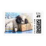Sleeping  puppy pug and Christmas gifts Postage Stamp
