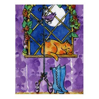 Sleeping Purple Cat Postcards