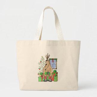 Sleeping Reindeer Tote Bags