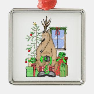 Sleeping Reindeer Square Metal Christmas Ornament