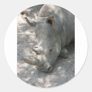 Sleeping Rhino head shot Sticker