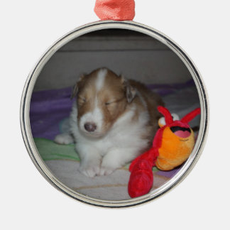 Sleeping Rough Collie Puppy Ornament