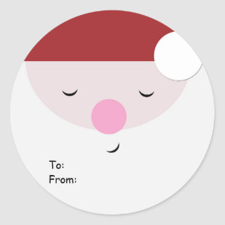 Sleeping Santa Christmas Tag, To:From: Classic Round Sticker