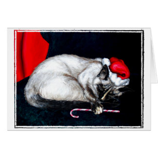 Sleeping Santa Claws Card