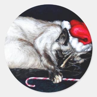 Sleeping Santa Claws Classic Round Sticker
