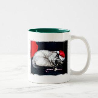 Sleeping Santa Claws Two-Tone Coffee Mug