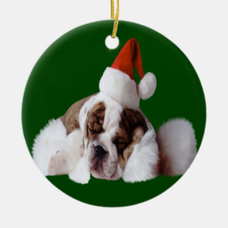 Sleeping Santa Puppy Ornament