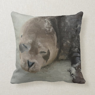Sleeping Seal Throw Pillow